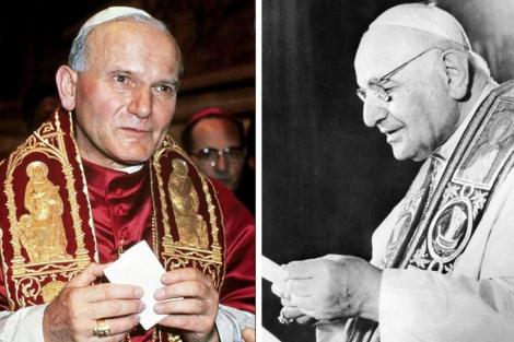 Juan Pablo II y Juan XXIII.| Afp