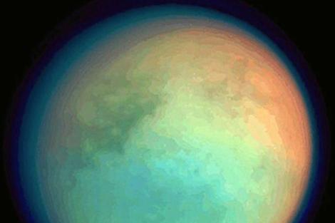 Imagen de Titán, la mayor luna de Saturno.   NASA