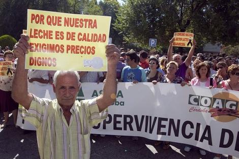 Productores cordobeses de leche protestan por los bajos precios.   Madero Cubero