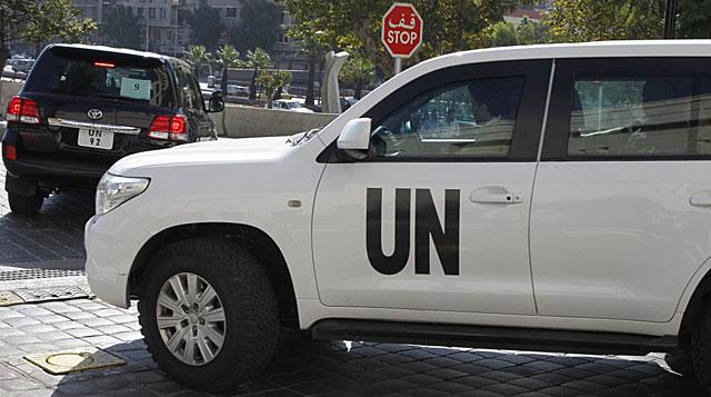Vehículos de los expertos de la Organización para la Prohibición de Armas Químicas. | Reuters