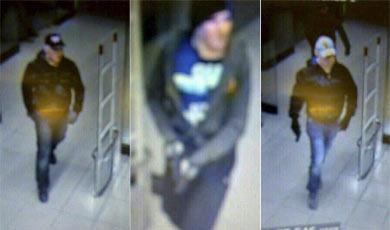 Imagen de los tres sospechosos captadas por las cámaras del supermercado.