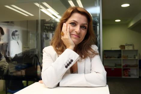 Paz Castelló, en la redacción de EL MUNDO, durante la entrevista. | P.Rubio