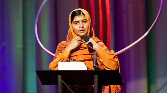 Malala Yousafzai durante la entrega de un premio en Nueva York. | Afp