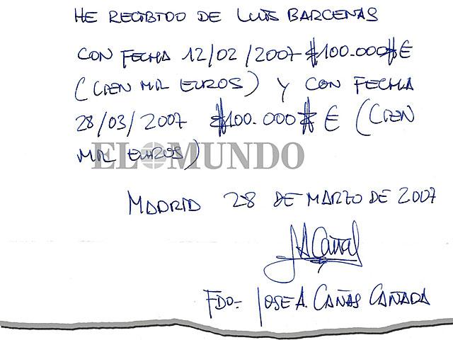 Recibí remitido al ex tesorero del PP Luis Bárcenas por José Ángel Cañas. | EL MUNDO
