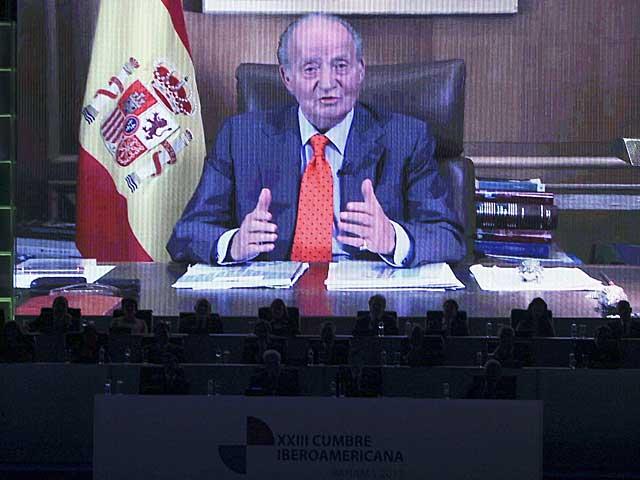 Mensaje del Rey Juan Carlos a los asistentes a la Cumbre Iberoamericana de Panamá. | Foto: Efe / Alejandro Bolivar.