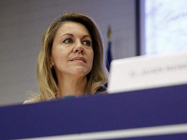 María Dolores de Cospedal, hoy en la sede de la CEOE en Madrid. | Juan Carlos Hidalgo / Madrid
