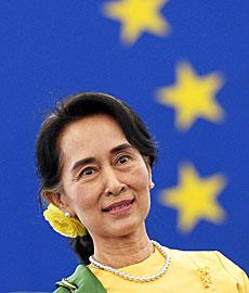 Suu Kyi, en el Parlamento Europeo. | Afp