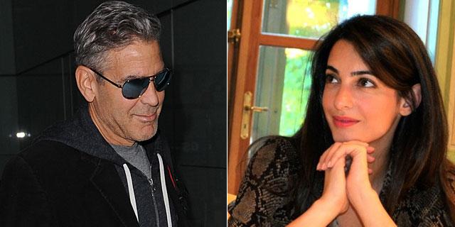 George Clooney, la semana pasada en Londres, y Amal Alamuddin. | Gtres/Twitter