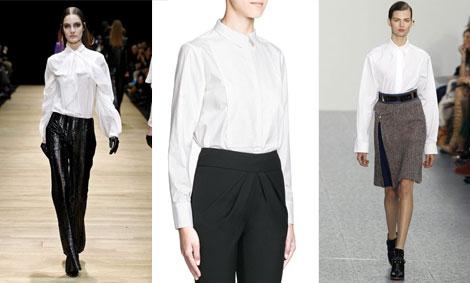 Desfiles de Guy Laroche (izq.) y Chloé (dcha.). Camisa blanca, de Mango.