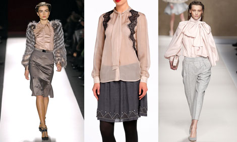 Propuestas de Carolina Herrera (izq.) y Blumarine (dcha.). Camisa, de Tintoretto.