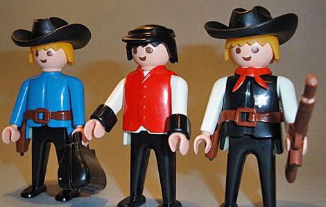 Las primeras figuras del Oeste de Playmobil, de los años setenta.