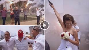 Así es una boda de ultras: pistolas, bengalas...