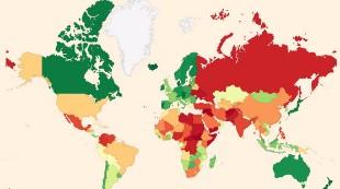 ¿Qué lugar ocupa España en la lista de los países más violentos?