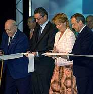 Di Stéfano, Gallardón, Aguirre y Florentino Pérez, en la inauguración de la Ciudad Deportiva del Madrid. (Foto: EFE)