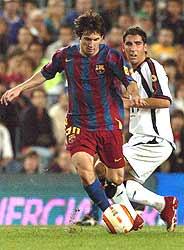 Messi, durante un partido de Liga. (Foto: AP)