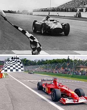 Fangio y Schumacher. Dos mitos que marcaron una época. (Foto: AFP)
