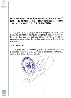 Documento oficial del juzgado de la 'operación Puerto'. (www.jan-ullrich.de)