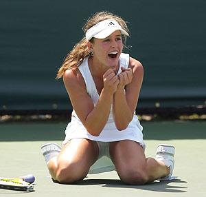 Michelle Larcher de Brito celebra su triunfo en Miami. (Foto: AFP)