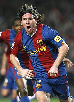 Messi celebra su golazo ante el Getafe, el que recordó al de Maradona. (Foto: REUTERS)