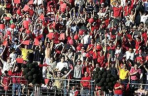 Los aficionados del Ciudad de Murcia celebran el ascenso a Segunda, en 2003.