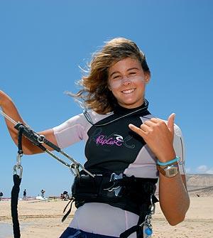 Gisela Pulido, de nuevo campeona mundial de kitesurf. (Foto: ALFREDO MERINO)