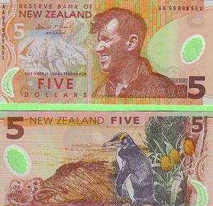 La imagen de Hillary ilustra los billetes de 5 dólares neozelandeses.