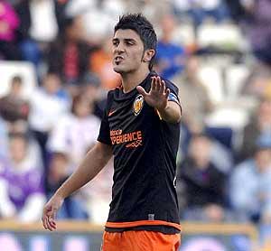 Villa en un partido con el Valencia