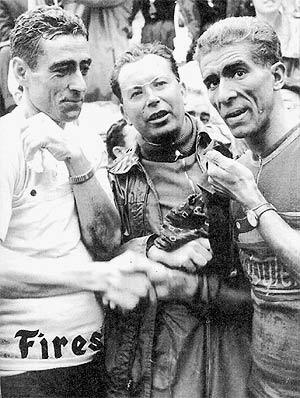 Loroño (i), Luis Puig (c) y Bahamontes, una unión ficticia. (Foto: EL MUNDO)