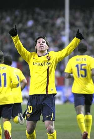 Messi festeja uno de sus goles. (Foto: AFP)