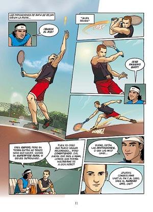 Jorge Lorenzo con Rafa Nadal en una de las páginas de 'Lorenzo's Land'.