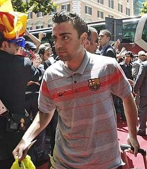 Xavi Hernández, a su llegada a Roma. (Foto: AFP)