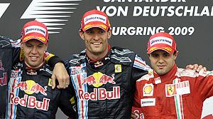 Webber y Massa celebran su podio en el GP de Alemania. (Foto: AFP)