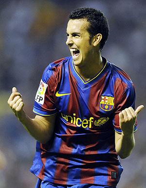 Pedro celebra el gol de la victoria en San Mamés, durante la ida de la Supercopa. (Foto: AP)