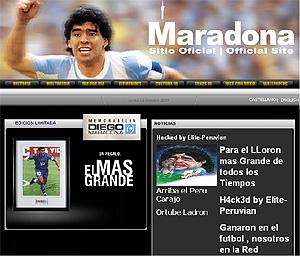 Imagen de las modificaciones en la web de Maradona.