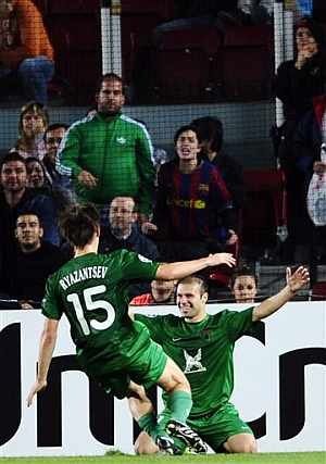 Karadeniz celebra el gol del triunfo. (Foto: AP)