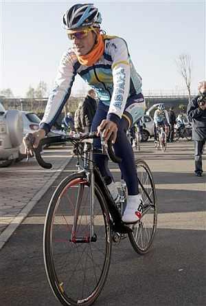 Alberto Contador, durante el entrenamiento. (AP)