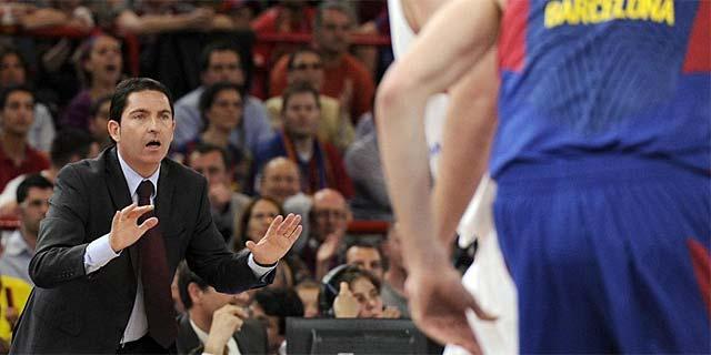 Xavi Pascual, durante la seminfal de la Final Four entre Barcelona y CSKA. (AFP)