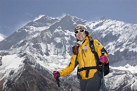 Oh Eun-Sun, durante la escalada a su último ochomil, el Annapurna. | Afp