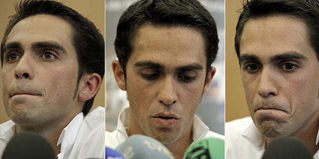 Tres momentos de Contador durante su conferencia de prensa. (Alberto di Lolli)