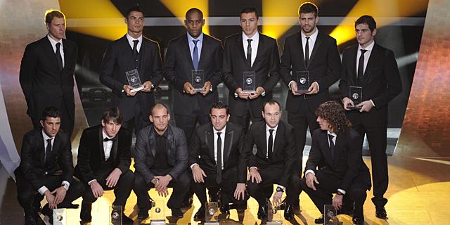 El 11 ideal de la temporada 2010, en la gala de Zúrich. | Afp
