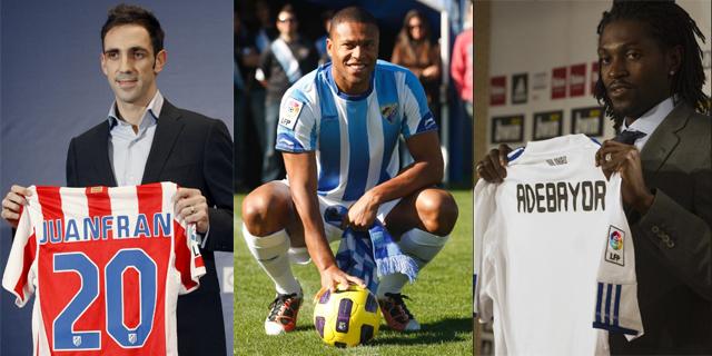 Juanfran, Baptista y Adebayor, tres de los fichajes de la liga española.
