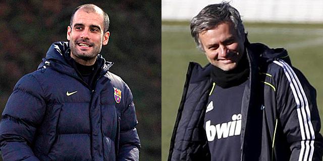 Pep Guardiola y José Mourinho, entrenadores de Barcelona y Real Madrid.