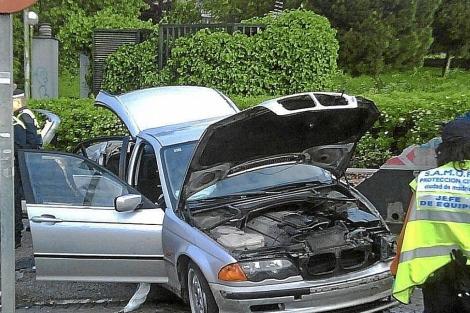 El coche de Marcos Alonso tras sufrir el accidente. | (EFE)