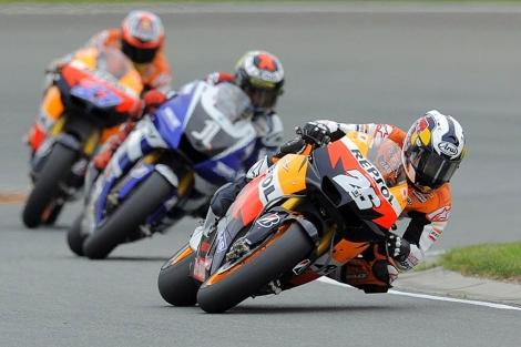Dani Pedrosa por delante de Lorenzo y Stoner en el Gran Premio de Alemania. | AFP
