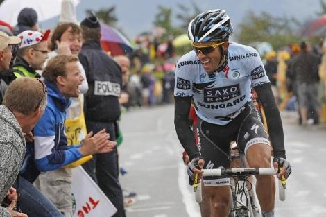 Contador, en pleno esfuerzo en el Col de Manse. (Foto: Ap)