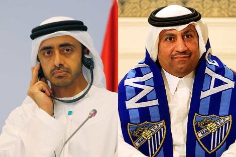 Los jeques Sheikh Mansour bin Zayed Al Nahyan y Abdullah Al-Thani