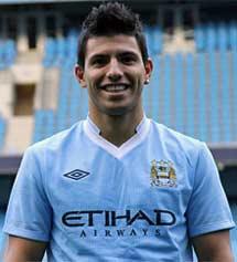 'Kun' Agüero con la camiseta del City