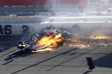 Wheldon, en el momento del accidente.   AP