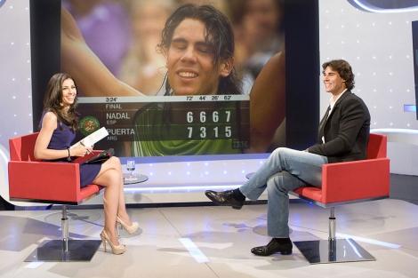 Rafa Nadal, durante la entrevista en 'Los desayunos de TVE'.