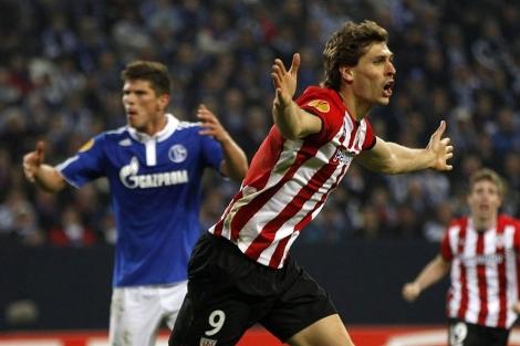 Llorente celebra el segundo gol del Athletic al Schalke. | Reuters
